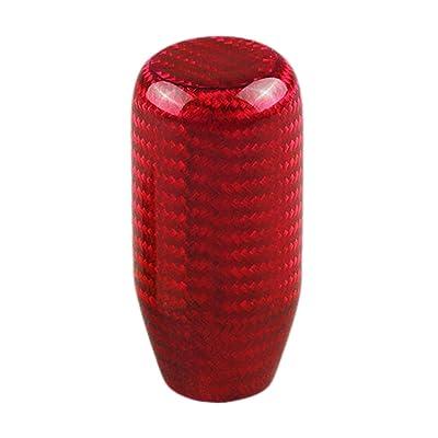 Sakali Universal Vehicle Carbon Fiber Shift Shifter Knob with 3 Adaptors 8mm 10mm 12mm Inner Diameter Car Manual or Automatic Universal Gear Knob Red: Automotive