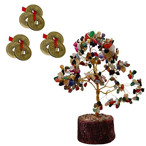 Divya Mantra Feng Shui Natural Multicolor Healing Gemstone Crystal Bonsai Fortune Tree and Set of 3 Three Lucky Chinese Coins with Red Ribbon for Good Luck, Wealth & Prosperity ()