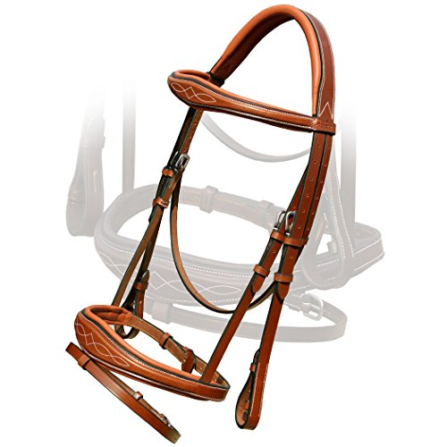 (Exion Fancy Square Raised Anatomic Bridle with PP Rubber Reins.Vegetable Tanned Leather.Stainless Steel Buckles.)