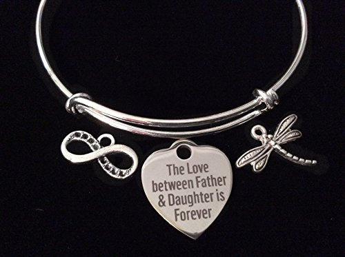 Father and Daughter Infinity Expandable Charm Bracelet Adjustable Silver Wire Bangle Gift