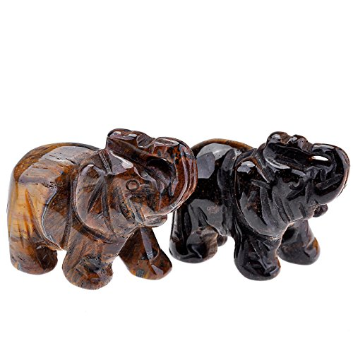 JOVIVI 2pc Natural Carved Gemstones Elephant Figurine 1.5'' Room Decoration, with Gift Box (Tiger Eye) ()