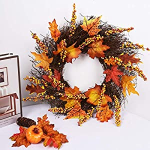 Artificial Sunflower Pumpkin Pinecone and Maple Leaf Wreath with Berry Lights for Halloween and Thanksgiving Home Indoor or Outdoor Arrangement Decoration 2