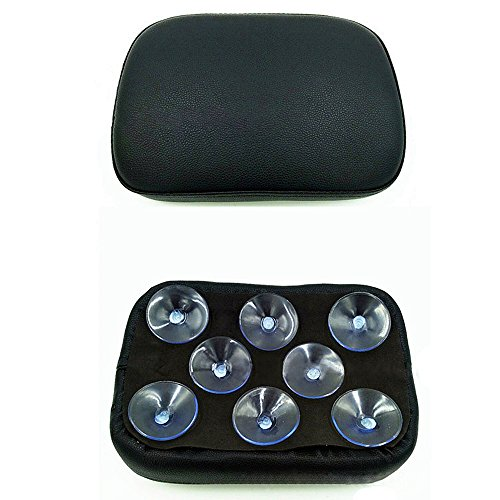 Black Pillion Pad Seat 8 Suction Cup Solo Rear Seat Passenger Saddle For Harley Dyna Sportster Softail Touring XL883 1200 48 (8) (Best Motorcycle For Pillion Passenger)
