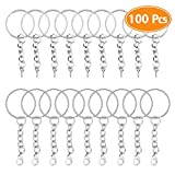 TIMGOU 100 Pcs Keychain Rings with Chain, 50 Pcs Lobster Clasp Open Jump Ring Chain Extender and 50 Pcs Screw Eye Pins Connector and for Craft DIY