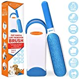 Lint Brush - Pet Hair Remover for Furniture Pet Fur Remover Brush with Self-Cleaning Base (Blue Brush)