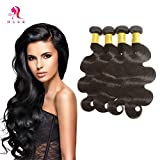 HLSK Hair 7A Brazilian Virgin Hair Supple Body Wave 3 Bundles 100% Unprocessed Virgin Human Hair Weave Extensions remy Human Hair (100g+/-5g)/pc (20 22 24 26)