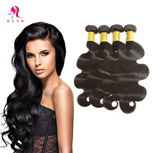 HLSK Hair 7A Brazilian Virgin Hair Supple Body Wave 3 Bundles 100% Unprocessed Virgin Human Hair Weave Extensions remy Human Hair (100g+/-5g)/pc (20 22 24 26) by HLSK
