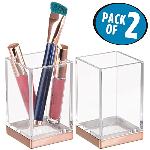 mDesign Modern Square Slim-Design Tumbler Cup for Bathroom Vanity Countertops - for Mouthwash/Mouth Rinse, Storing and Organizing Makeup Brushes, Eye Liners, Accessories - Pack of 2, Clear/Rose ()