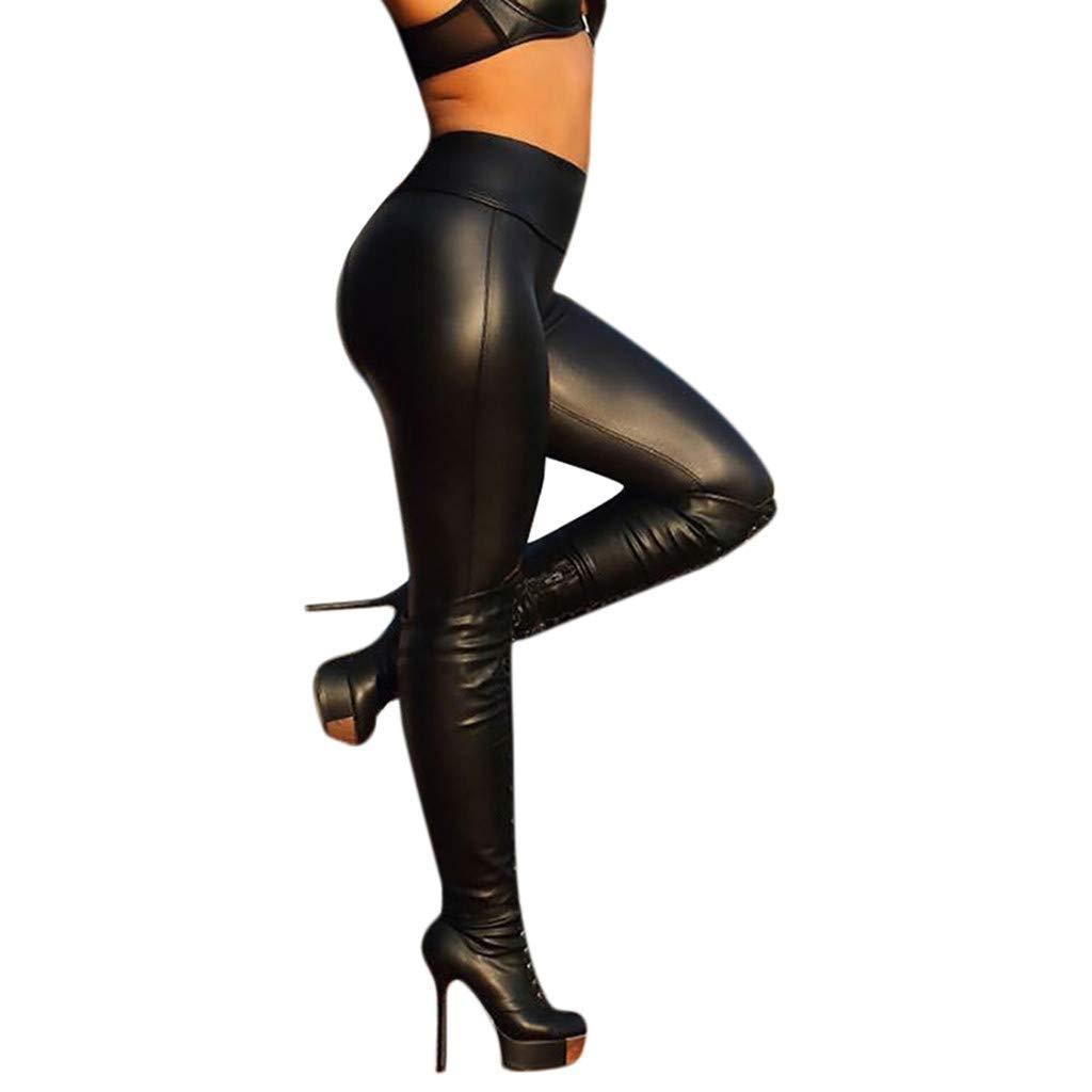 Women Sport Yoga Pants,Jchen(TM) Ladies Solid Color Workout Leggings Fitness Sports Leather Clubwear Pants (S, Black)