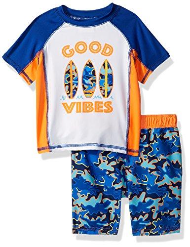 Baby Buns Baby Boys Two Piece Good Vibes Rashguard Swimsuit Set, Multi, 24M