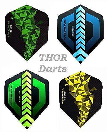 THOR-DARTS, 30alette (10 set) di alette extra forti per freccette, HD-280, di colore verde, blu, nero,150micron, a lunga durata, forma standard HD-150 Plus, di colore verde-nero, blu-nero, F1 blau, Standard THOR-DARTS.eu