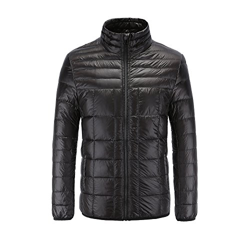 RongYue Men's Winter Packable Down Jacket Lightweight Quilted Puffer Coat, Black 2XL/US- (Mens Down Coat Jacket)