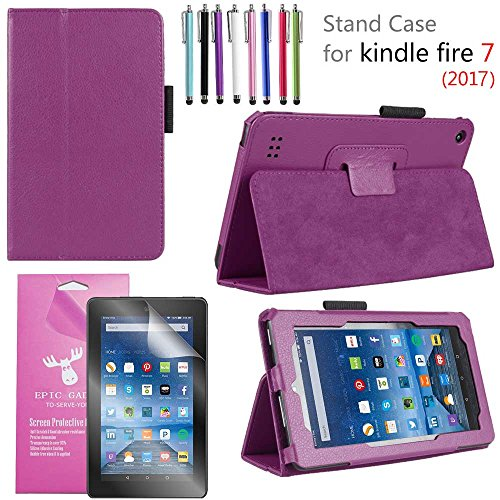 "Amazon Fire 7"" 2017 Case, EpicGadget(TM) 7th Generation Fire 7 Premium PU Leather Folding Folio Case with Built in Stand For Fire 7 inch (2017 Release) + 1 Screen Protector and 1 Stylus (Purple)"