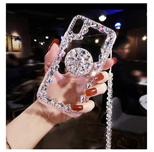Diamond Kickstand Case, Crystal Neck Strap Cover, Luxury Bling Airbag Stand Holder Diamond Rhinestone Crystal Necklace Case Cover for Samsung Galaxy S9 Plus (Clear, for Samsung Galaxy S9 Plus)]()