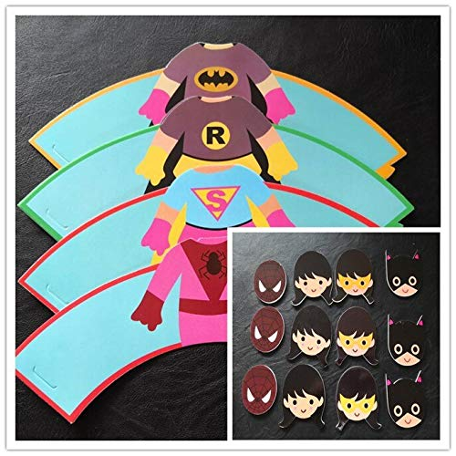 GoldLock 24Pcs Minne/Minions/Teenage Mutant Ninja Turtles Cupcake Wrapper Kids Birthday Party Deco Favors With Cupcake Topper Insert Card (superwoman) ()