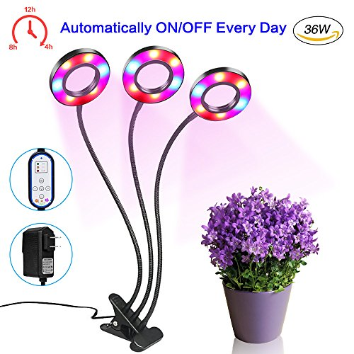 [2018 Upgraded]LED Grow Light, Carlofo 36W three Head Horticultural Plant Growing Light Growing Lamps with 360 Degree Adjustable Gooseneck for Indoor Plants, Greenhouse, Hydroponics, Gardening, Office by carlofo