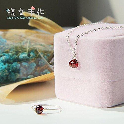 Generic Cinnabar_mole_ natural heart _shaped_ 14k _gold- Silver _burgundy_ garnet necklace Pendant necklace Pendant women girl _models_mini (Burgundy Mini Pendant)