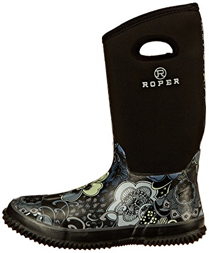 Roper Women's Barnyard Prints Rain Shoe, Black, 9 M US Photo #7