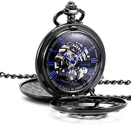 TREEWETO Black Double Cover Roman Numerals Dial Skeleton Mens Women Pocket Watch
