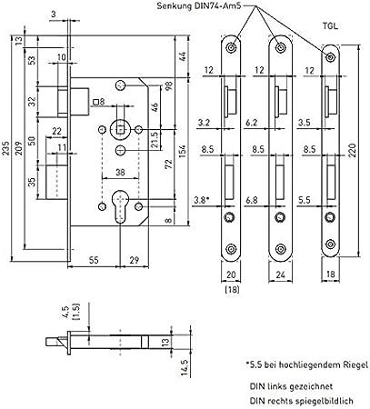 Klasse 3 vorgerichtet f/ür Profilzylinder DIN links BMH Einsteckschloss Nr F/ür Zimmert/üren 2