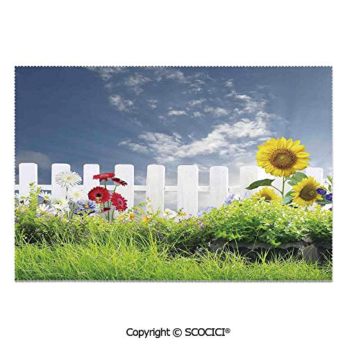 SCOCICI Set of 6 Durable Polyester Place Mats Heat Resistant Table Mats Grass Foliage Field with Sunflowers Daisy Hedge Fence Yard Jardin for Party Kitchen Dining Table]()