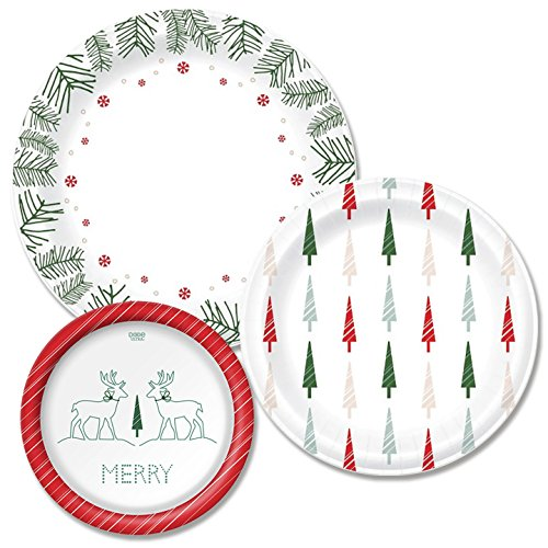 Dixie Winter Paper Plate Bundle, Large, Medium, Small - Dinner 10
