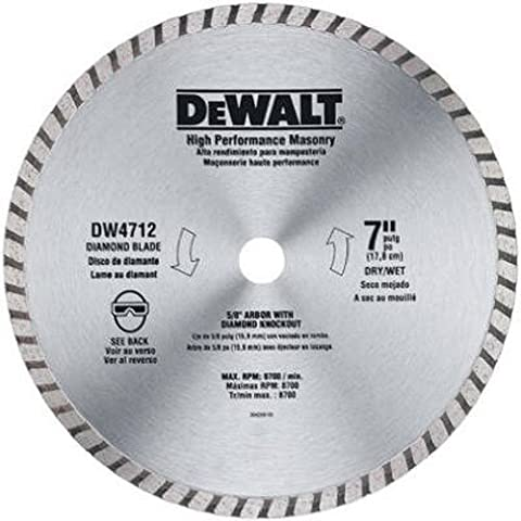 DEWALT DW4712 High Performance 7-Inch Dry/Wet Cutting Continuous Rim Diamond Saw Blade for Block and - Dewalt Masonry
