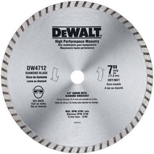 DEWALT DW4712 High Performance 7-Inch Dry/Wet Cutting Continuous Rim Diamond Saw Blade for Block and Brick (Masonry Wet Saw)