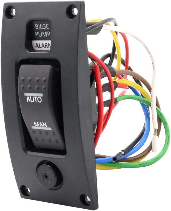 12V Waterproof Marine Boat Bilge Alarm Pump Panel Switch Plate Automatic Manual