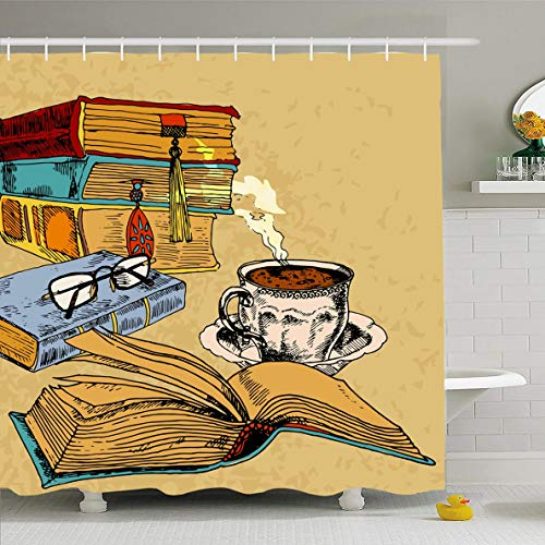 (Ahawoso Shower Curtain 72x72 Inches Open Literature Vintage Books Cup Coffee Colored Library Sketch Literary Classic Doodle Design School Waterproof Polyester Fabric Set with Hooks)