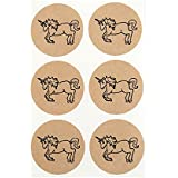 Once Upon Supplies Unicorn Kraft Round Stickers, 1.5...