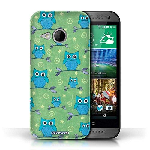 Etui / Coque pour HTC One/1 Mini 2 / Bleu/Vert conception / Collection de Motif Hibou