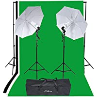 Andoer Studio Portrait Product Light Lighting Tent Kit 135W Bulb with Bulb Holder, Reflective Shooting-through Umbrella, Backdrops, Backdrop stand, Tripod Stands and Carrying Bag