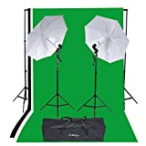Andoer Studio Portrait Product Light Lighting Tent Kit 135W E26/E27 Bulb with Bulb Holder, (Backdrop+3 umbrellas)