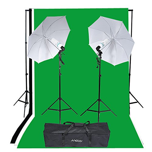 Andoer Studio Portrait Product Light Lighting Tent Kit 135W E26/E27 Bulb with Bulb Holder, (Backdrop+3 umbrellas) by Andoer