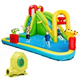 BOUNTECH Inflatable Bounce House, 7-In-1 Water Pool Slide w/ Climbing Wall, Water Cannons, Basketball Rim, Splash Pool, Including Oxford Carry Bag, Repairing Kit, Stakes, Hose, With 735W Air Blower
