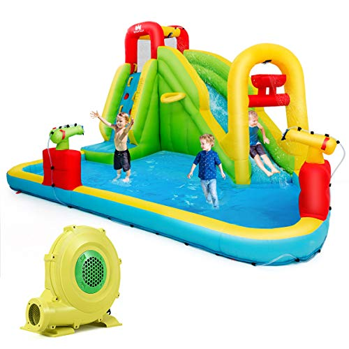 BOUNTECH Inflatable Bounce House, 7-In-1 Water Pool Slide w/ Climbing Wall, Water Cannons, Basketball Rim, Splash Pool, Including Oxford Carry Bag, Repairing Kit, Stakes, Hose, With 680W Air Blower