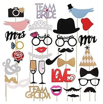 Queta Boda Photo Booth Props, 31 Piezas Fashion Photobooth ...