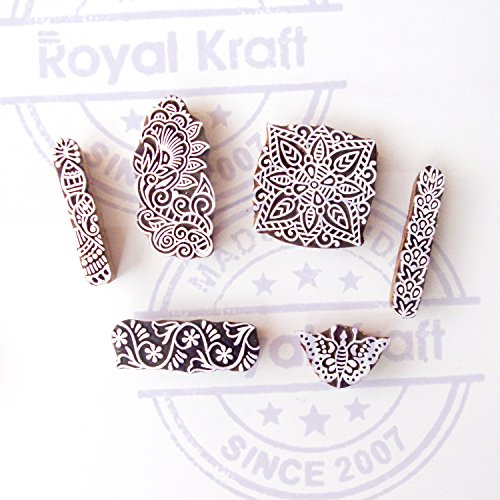 Butterfly and Square Indian Designs Wood Print Blocks (Set of 6) by Royal Kraft (Image #1)
