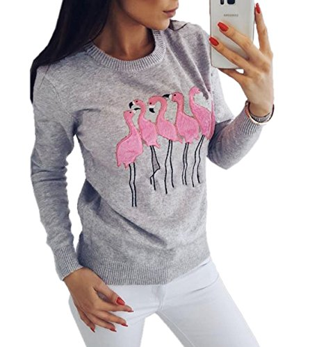 T Rond et Slim Automne Gris Printemps Shirts Femmes Sweat Shirt Broderie Longues Pullover Casual Pulls Jumpers Col Tops Manches Tee Blouse Fashion Hauts qfAA0ax