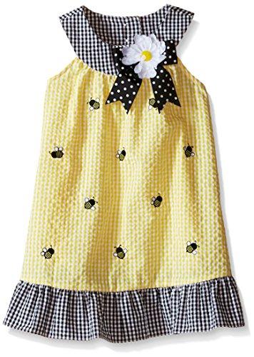 Rare Editions Little Girls' Toddler Seersucker Dress, Yellow, 2T