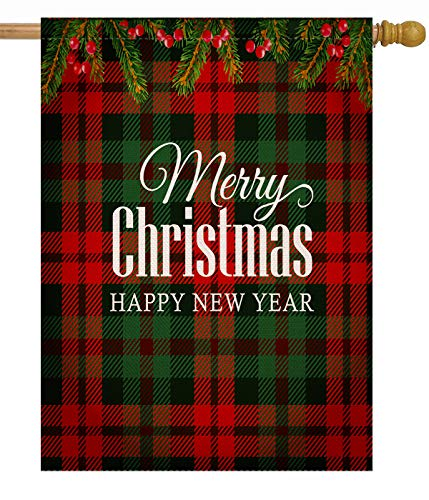 Dyrenson Merry Christmas 28 x 40 House Flag Buffalo Plaid Double Sided, Xmas Quote Burlap Garden Yard Decoration Ornament, Tartan Checkered Winter Seasonal Outdoor Décor Decorative Holiday Large Flag (Xmas Happy Merry)