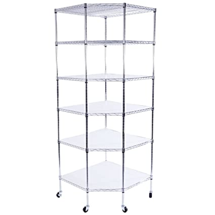 Amazon Com Azadx 6 Tiers Corner Shelf Adjustable Metal Storage