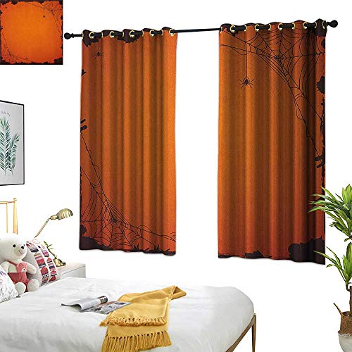 Navy Blue Curtains Spider Web,Grunge Halloween Composition Scary Framework with Insects Abstract Cobweb, Orange Brown 72