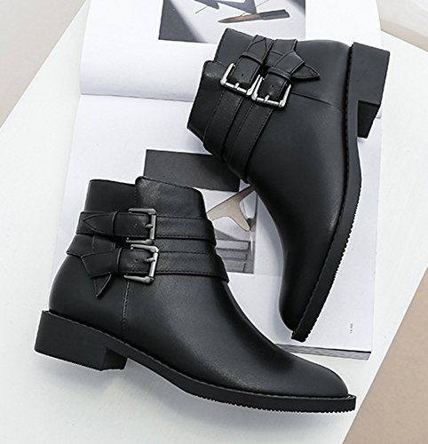 Buckle Aisun Pointed Boot With Shoes Chic Women's Black Zipper Toe 4wqrxFwEnt