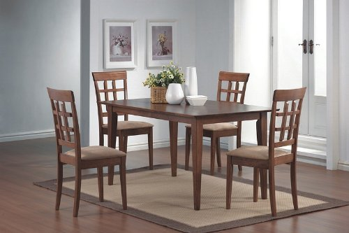 5pcs Wheat Back Walnut Finish Dining Table & 4 Chairs Set