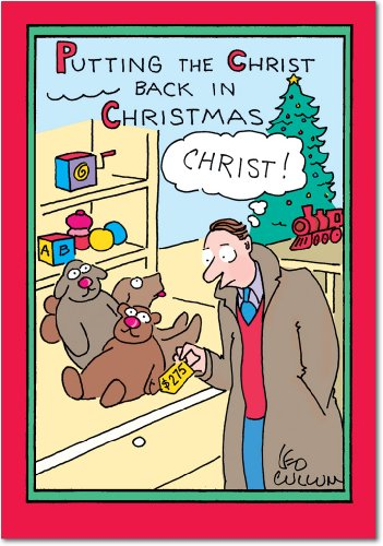 Christ Sets (B5702 Box Set of 12 Christ Back in Xmas Leo Cullum Christmas Cartoon Funny Christmas Greeting Cards; with Envelopes)