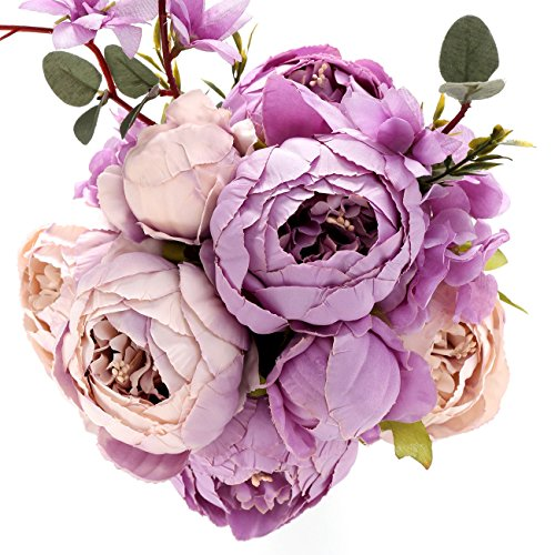 Summer Wedding Centerpiece (Fake Artificial Flowers Vintage Silk Peony Flowers Bouquet for Home Wedding Centerpieces Décor and DIY (Bright Purple))