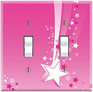Graphics Wallplates - Pink Shooting Stars - Double Toggle Wall Plate Cover