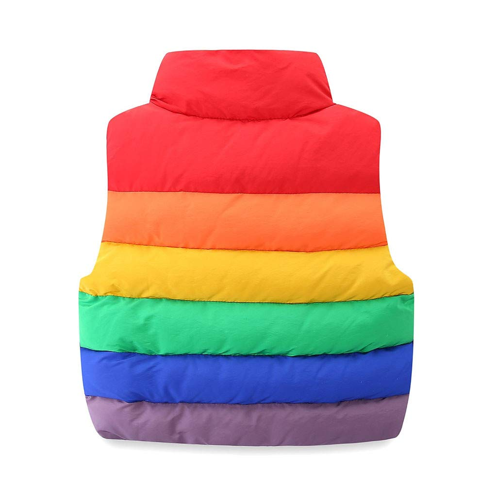 Shenye Toddler Kids Winter Gilets Rainbow Multicolored Baby Boy Girl Warm Coats Vest Zipper Thick Outerwear